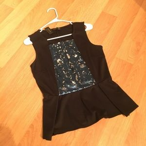 The Limited Sequin Peplum Tank NWT S